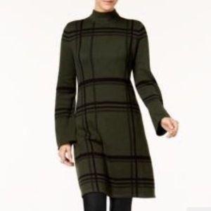 📍 New Turtleneck Sweater Dress Grid Plaid Green L
